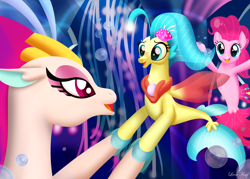 Size: 3500x2500   Tagged: safe, artist:leonkay, pinkie pie, princess skystar, queen novo, seapony (g4), my little pony: the movie, bioluminescent, blue eyes, blue mane, bubble, colored pupils, crown, eyelashes, female, fin wings, fins, fish tail, freckles, glow, holding hooves, jewelry, looking at each other, necklace, ocean, one small thing, open mouth, pearl necklace, pink mane, purple eyes, regalia, seaponified, seapony pinkie pie, seaquestria, smiling, species swap, tail, underwater, wings