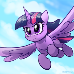 Size: 2048x2048 | Tagged: safe, artist:pfeffaroo, twilight sparkle, alicorn, pony, cloud, female, flying, frown, glare, high res, mare, serious, serious face, sky, solo, spread wings, twilight sparkle (alicorn), wings