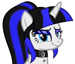 Size: 2286x1959 | Tagged: safe, artist:severity-gray, oc, oc:coldlight bluestar, pony, unicorn, collar, cutie mark, eyeshadow, horn, looking at you, makeup, ponytail, smiling, smiling at you, smug, solo