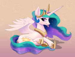 Size: 4263x3228 | Tagged: safe, artist:xbi, princess celestia, alicorn, pony, :p, abstract background, crown, cute, cutelestia, ear fluff, eyeshadow, female, hoof shoes, jewelry, lidded eyes, lying down, makeup, mare, peytral, prone, raspberry, regalia, sillestia, silly, smiling, solo, spread wings, tongue out, wing fluff, wings