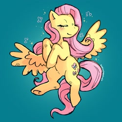 Size: 1735x1735 | Tagged: safe, artist:beginningofrain, fluttershy, pegasus, pony, blushing, cute, eyes closed, female, mare, shyabetes, simple background, solo, spread wings, teal background, wings