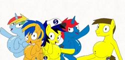 Size: 708x344 | Tagged: safe, artist:mlpfan3119, artist:ry-bluepony1, oc, oc:button rush, oc:flare spark, oc:johnny, oc:ponyseb 2.0, oc:shield wing, oc:train track, alicorn, pegasus, pony, unicorn, anthro, belly, belly button, big belly, eating, fat, weight gain