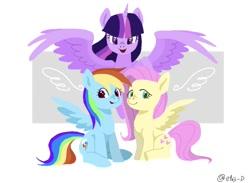 Size: 1129x827 | Tagged: safe, artist:efuji_d, fluttershy, rainbow dash, twilight sparkle, alicorn, pegasus, pony, unicorn, female, spread wings, trio, trio female, twilight sparkle (alicorn), wings