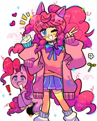 Size: 1563x1944 | Tagged: safe, artist:jack0ran, pinkie pie, earth pony, human, pony, bowtie, candy, clothes, colored pupils, cupcake, cute, diapinkes, eared humanization, exclamation point, female, food, heart, human ponidox, humanized, lollipop, mare, one eye closed, oversized clothes, peace sign, pleated skirt, self ponidox, simple background, skirt, smiling, stars, tailed humanization, white background, wink