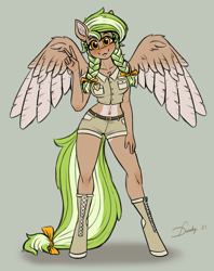 Size: 1965x2480 | Tagged: safe, alternate version, artist:dandy, derpibooru exclusive, oc, oc only, oc:sylvia evergreen, pegasus, anthro, unguligrade anthro, anthro oc, belly button, blushing, boots, bow, braided pigtails, breasts, clothes, colored, female, flat colors, freckles, gray background, hair bow, heart, high res, looking at you, pale belly, park ranger, peace sign, pegasus oc, shoes, short shirt, shorts, signature, simple background, solo, two toned mane, two toned tail, uniform, wings