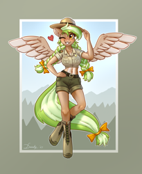 Size: 2232x2728 | Tagged: safe, artist:dandy, oc, oc only, oc:sylvia evergreen, pegasus, anthro, unguligrade anthro, anthro oc, belly button, blushing, boots, bow, braided pigtails, breasts, clothes, female, freckles, hair bow, hand on hip, hat, heart, heart eyes, high res, looking at you, one eye closed, pale belly, park ranger, pegasus oc, shoes, short shirt, shorts, smiling, smiling at you, solo, uniform, wingding eyes, wings, wink, winking at you