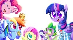 Size: 1128x624 | Tagged: safe, artist:ce2438, applejack, fluttershy, pinkie pie, rainbow dash, rarity, spike, twilight sparkle, alicorn, earth pony, pegasus, pony, unicorn, clothes, doll, eyes closed, food, mane six, simple background, smiling, sweater, toy, twilight sparkle (alicorn), white background