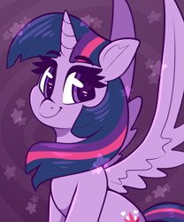 Size: 1233x1479 | Tagged: safe, artist:graphene, twilight sparkle, alicorn, pony, :t, abstract background, beautiful, cute, female, looking at you, mare, sitting, smiling, smiling at you, solo, spread wings, starry eyes, twiabetes, twilight sparkle (alicorn), wingding eyes, wings