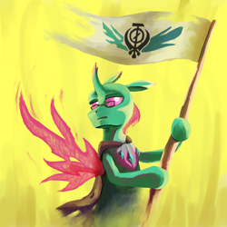 Size: 2000x2000 | Tagged: safe, artist:ka3ahb, oc, oc:ninth, changedling, changeling, changeling oc, digital painting, flag, solo, wings
