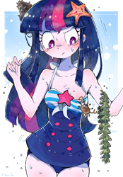 Size: 2348x3376 | Tagged: safe, artist:nendo, twilight sparkle, crab, starfish, equestria girls, equestria girls series, forgotten friendship, blushing, breasts, clothes, cute, female, high res, looking down, solo, swimsuit, twiabetes, wet, wet mane
