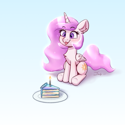 Size: 2232x2232 | Tagged: safe, artist:dandy, princess celestia, alicorn, pony, :3, :p, birthday, blue background, blushing, cake, cakelestia, candle, cewestia, chest fluff, cute, cutelestia, ear fluff, eyes on the prize, female, filly, filly celestia, food, gradient background, horn, pink mane, pink-mane celestia, raspberry, simple background, sitting, smiling, solo, starry eyes, tongue out, wingding eyes, wings, younger