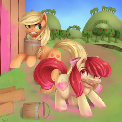 Size: 2000x2000   Tagged: safe, artist:annafreezen, apple bloom, applejack, earth pony, pony, apple, apple sisters, apple tree, barn, barrel, bucket, duo, fake cutie mark, female, filly, mare, mouth hold, paint, paintbrush, rearing, siblings, sisters, sweet apple acres, tree