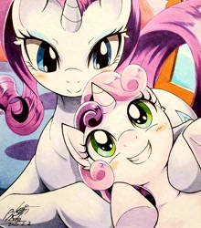 Size: 2654x3010   Tagged: safe, artist:025aki, rarity, sweetie belle, pony, unicorn, blushing, cute, diasweetes, ear fluff, female, filly, looking at each other, mare, raribetes, sibling love, siblings, sisterly love, sisters, smiling, traditional art