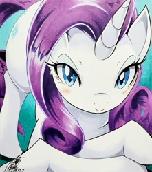 Size: 2662x3010 | Tagged: safe, artist:025aki, rarity, pony, unicorn, abstract background, bedroom eyes, blushing, face down ass up, female, looking at you, mare, solo, traditional art