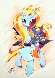 Size: 2850x4032 | Tagged: safe, artist:025aki, sassy saddles, pony, unicorn, blushing, clothes, female, looking at you, mare, smiling, solo, traditional art