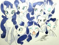 Size: 3994x3008 | Tagged: safe, artist:025aki, rarity, pony, unicorn, blushing, commonity, female, mare, multeity, traditional art