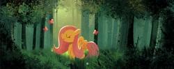 Size: 1648x656 | Tagged: safe, artist:cyberspit, fluttershy, butterfly, pegasus, pony, bush, cute, daaaaaaaaaaaw, eyes closed, female, forest, mare, shyabetes, tree, wings
