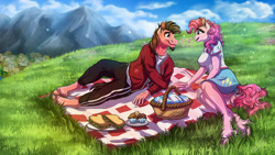 Size: 1920x1080 | Tagged: safe, artist:lupiarts, pinkie pie, oc, oc:ace play, anthro, unguligrade anthro, basket, canon x oc, clothes, commission, couple, digital art, female, food, holding hands, love, male, mountain, picnic, picnic basket, picnic blanket, pinkieplay, ponyville, romance, romantic, sandwich, scenery, shipping, skirt, sky, straight, unshorn fetlocks