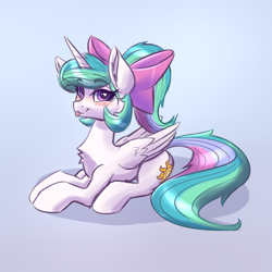 Size: 2126x2126   Tagged: safe, artist:dandy, princess celestia, alicorn, pony, :p, alternate hairstyle, blushing, bow, chest fluff, cute, cutelestia, female, hair bow, heart eyes, horn, looking at you, lying down, ponytail, prone, simple background, solo, tongue out, wingding eyes, wings