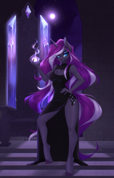 Size: 2606x4081 | Tagged: safe, alternate version, artist:u_lu_lu, nightmare rarity, rarity, unicorn, anthro, unguligrade anthro, breasts, cleavage, clothes, dress, fangs, female, hand on hip, horn, looking at you, magic, moonlight, solo, throne, throne room