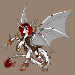 Size: 4000x4000 | Tagged: safe, artist:hilloty, oc, alicorn, demon, pony, commission, solo, steampunk