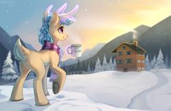 Size: 3000x1950 | Tagged: safe, artist:trickate, oc, oc only, oc:karolin, deer, pony, reindeer, clothes, female, hut, magic, mountain, mug, scarf, scenery, snow, snowy mountain