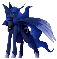 Size: 1280x1334 | Tagged: safe, artist:wingofpegacraft, princess luna, alicorn, pony, big ears, blue mane, blue tail, chest fluff, choker, crown, ear fluff, ethereal mane, eyelashes, feather, female, flowing mane, flowing tail, green eyes, hoof shoes, horn, jewelry, looking at you, regalia, scar, simple background, smiling, solo, starry mane, tied tail, transparent background, watermark, wings