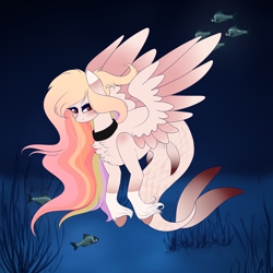 Size: 2000x2000 | Tagged: safe, artist:outlastien, oc, oc only, fish, hybrid, merpony, pegasus, pony, seapony (g4), blushing, chest fluff, commission, eyelashes, feather, female, fins, fish tail, flowing mane, flowing tail, ocean, red eyes, seaponified, seaweed, solo, species swap, spread wings, tail, underwater, unshorn fetlocks, water, wings, ych result