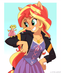 Size: 2218x2675 | Tagged: safe, artist:lummh, ray, sunset shimmer, gecko, leopard gecko, lizard, equestria girls, clothes, clothes swap, cosplay, costume, cute, dress, duo, female, frown, grin, happy, high res, jacket, male, ponied up, pony ears, rapunzel, ray is not amused, smiling, tangled (disney), teeth, unamused, unhappy