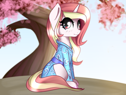 Size: 1600x1200 | Tagged: safe, artist:plaguemare, oc, oc only, pony, unicorn, cherry blossoms, clothes, female, flower, flower blossom, kimono (clothing), looking at you, mare, sitting, solo, tree