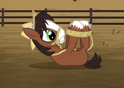 Size: 912x650 | Tagged: safe, screencap, trouble shoes, earth pony, pony, appleoosa's most wanted, bondage, bridle, colt, cropped, fence, hogtied, lasso, lying down, male, on back, rope, solo, tack, tied up, younger