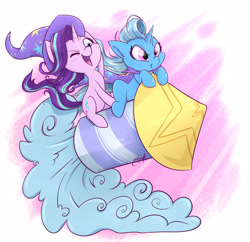 Size: 2488x2410 | Tagged: safe, artist:midnightpremiere, starlight glimmer, trixie, pony, unicorn, 2018, accessory swap, cape, clothes, cute, diatrixes, duo, duo female, female, glimmerbetes, guardians of harmony, hat, high res, horn, mare, one eye closed, open mouth, open smile, rocket, signature, simple background, smiling, smirk, smoke, toy, toy interpretation, trixie's cape, trixie's hat, trixie's rocket, white background