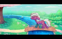 Size: 3000x1920 | Tagged: safe, artist:swerve-art, oc, oc only, earth pony, pony, bridge, clothes, floppy ears, not cheerilee, river, socks, solo, stream, striped socks, tree