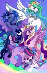 Size: 2650x4096 | Tagged: safe, artist:honeybonniebunny, princess cadance, princess celestia, princess flurry heart, princess luna, twilight sparkle, alicorn, pony, alicorn pentarchy, female, filly, high res, hybrid wings, mare, twilight sparkle (alicorn), wings