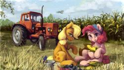 Size: 2560x1440 | Tagged: safe, artist:jewellier, applejack, pinkie pie, earth pony, pony, bandana, biplane, bucket, corn, cornfield, duo, eating, farm, female, food, hatless, herbivore, jar, looking at you, looking back, looking back at you, mare, missing accessory, plane, tractor