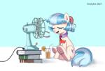 Size: 972x662 | Tagged: safe, artist:vinilyart, coco pommel, earth pony, pony, book, cocobetes, cute, eyes closed, fan, food, frog (hoof), juice, necktie, open mouth, orange, orange juice, relaxing, straw, underhoof