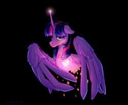 Size: 1760x1440 | Tagged: safe, artist:zero-paint, twilight sparkle, alicorn, pony, black background, crying, female, heart, mare, simple background, solo, sparkles, twilight sparkle (alicorn)