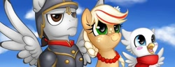Size: 712x275 | Tagged: artist needed, safe, oc, oc:frosty (mec), oc:poppy seed (mec), oc:thunder wing (mec), convention, mascot, middle equestrian convention, not applejack, poland