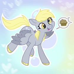 Size: 1800x1800 | Tagged: safe, artist:twistygrins, derpy hooves, pegasus, pony, colored hooves, cute, derpabetes, female, heart, mare, muffin, open mouth, pictogram, solo, speech bubble, that pony sure does love muffins, two toned wings, wings