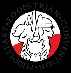 Size: 488x500 | Tagged: safe, oc, oc:frosty (mec), oc:poppy seed (mec), oc:thunder wing (mec), logo, middle equestrian convention, poland