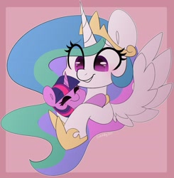 Size: 3883x3970 | Tagged: safe, artist:sakukitty, princess celestia, twilight sparkle, alicorn, pony, unicorn, abstract background, bust, cute, cutelestia, duo, duo female, eye clipping through hair, eyebrows, eyebrows visible through hair, eyes closed, female, filly, filly twilight sparkle, grin, high res, mare, momlestia, smiling, twiabetes, unicorn twilight, younger