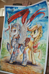 Size: 440x657 | Tagged: artist needed, safe, oc, oc:poppy seed (mec), oc:thunder wing (mec), armor, flower, flower in hair, hussar, irl, jewelry, looking at each other, middle equestrian convention, necklace, not applejack, photo, poland, spread wings, traditional art, watercolor painting, wings