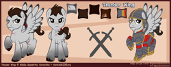 Size: 2300x900 | Tagged: safe, artist:lifyen, oc, oc:thunder wing (mec), mascot, middle equestrian convention, reference sheet