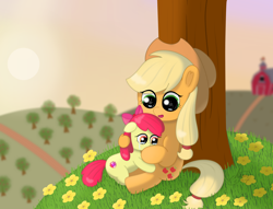 Size: 1916x1462   Tagged: safe, artist:limitmj, apple bloom, applejack, earth pony, pony, adorabloom, apple, apple bloom's bow, apple sisters, apple tree, applejack's hat, barn, bow, comforting, cowboy hat, crying, cute, digital art, duo, duo female, female, flower, food, grass, hair bow, hat, jackabetes, mare, open mouth, sibling love, siblings, sisterly love, sisters, starry eyes, sunset, sweet apple acres, tree, wingding eyes