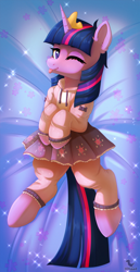 Size: 784x1524 | Tagged: safe, artist:dinoalpaka, twilight sparkle, pony, unicorn, ;p, clothes, female, looking at you, mare, one eye closed, pajamas, patreon, patreon reward, solo, tongue out, wink, winking at you