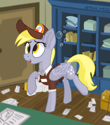 Size: 4000x4549   Tagged: safe, artist:d3f4ult_4rt1st, derpy hooves, pegasus, pony, blurry background, box, bubble, cabinet, chest fluff, cross-eyed, cute, derpabetes, ear fluff, female, hat, letter, mailmare, mailmare hat, mailmare uniform, mare, newspaper, open mouth, post office, raised hoof, solo, wing fluff, wings