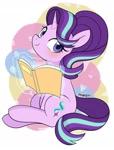 Size: 1551x2048 | Tagged: safe, artist:ch-chau, artist:maren, starlight glimmer, pony, unicorn, book, female, glowing horn, horn, smiling