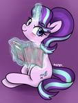 Size: 1551x2048 | Tagged: safe, artist:maren, artist:sina_artsnstuff, starlight glimmer, pony, unicorn, book, glowing horn, horn, purple background, simple background, sitting