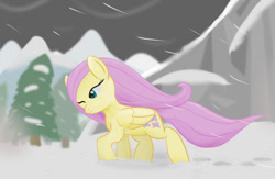 Size: 1280x832   Tagged: safe, artist:sylphanscribe, fluttershy, earth pony, pegasus, blizzard, one eye closed, snow, snowfall, solo, windswept mane