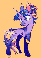 Size: 906x1289 | Tagged: safe, artist:cuctopus, twilight sparkle, alicorn, alternate design, colored wings, colored wingtips, glasses, leonine tail, open mouth, ponu, smiling, solo, twilight sparkle (alicorn), wingding eyes